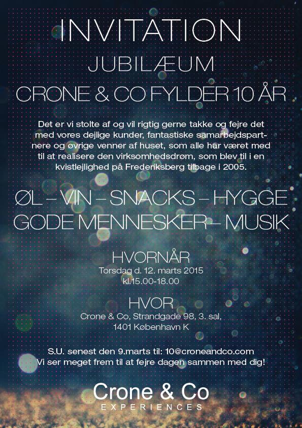 Invitation: Crone & Co turns 10 years 2015